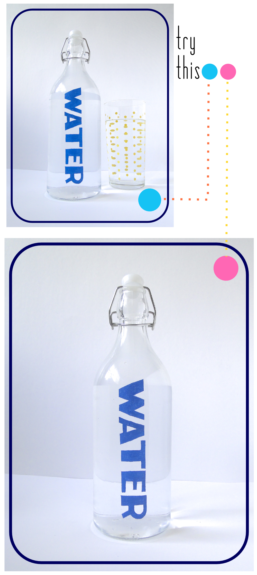 Try This: Stenciled Water Bottle by Fabric Paper Glue