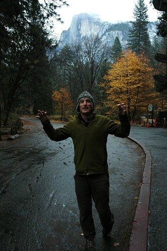 Half dome and Paul Hatton, half man half fingers, yellow fall trees, one of the sweetest places in the world, rainy fall day, Yosemite National Park, California, USA by Wonderlane
