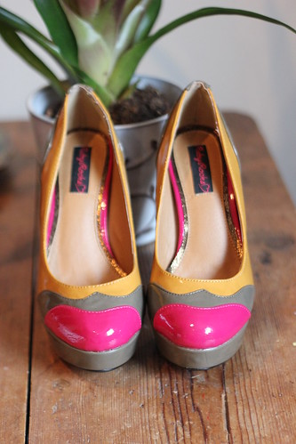 Ruby Rocks Patent Tri Tone Platform Court Shoes from Barratts by Queenie & the Dew