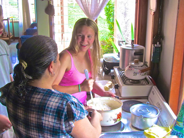 Learning to make cinnamon rolls with homestay mom