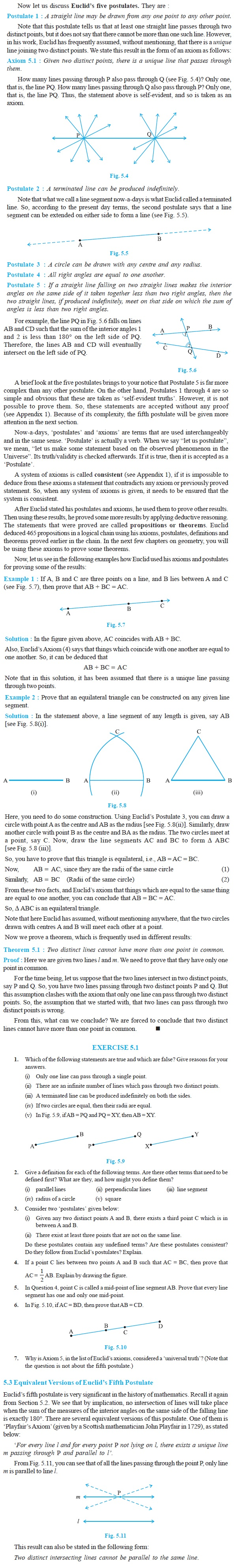 NCERT Class IX Maths Chapter 5 Introduction to Euclid's Geometry