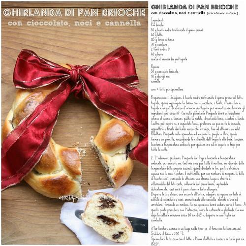 Ghirlanda di pan brioche con cioccolato, noci e cannella