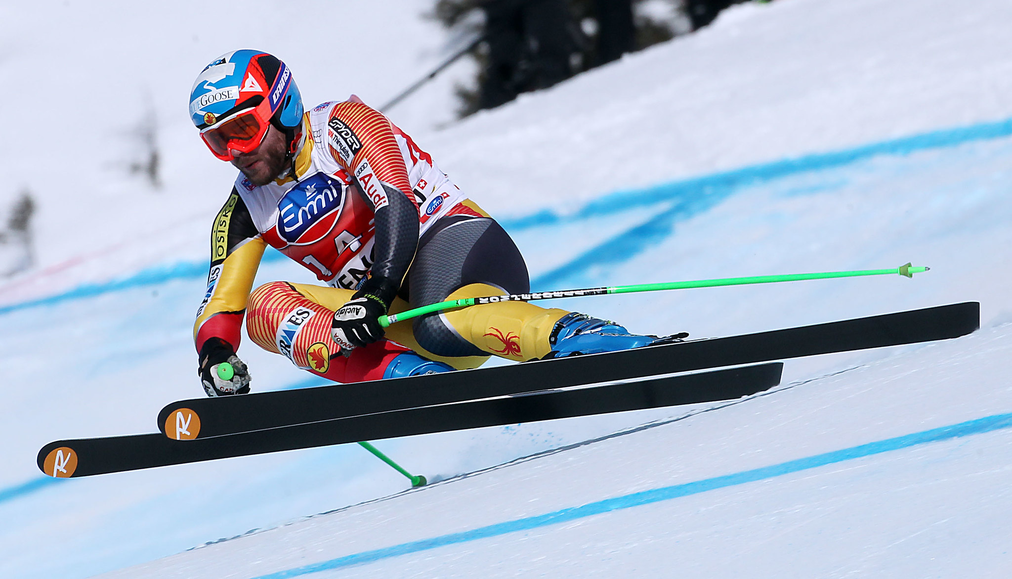 Jan Hudec in action in men's downhill, Wengen, Switzerland.