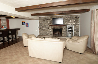 Family room - fireplace- built-in bar in Louisville KY