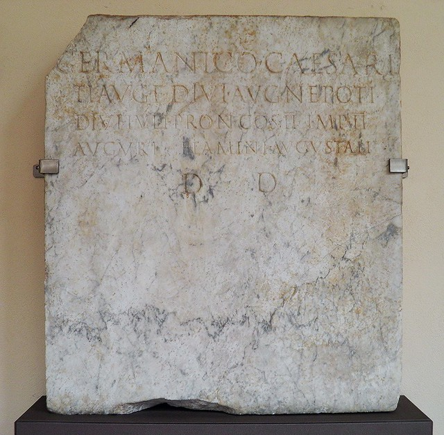 Inscription dedicated to Germanicus (after year 18 AD), exhibited in the smaller cloister, Civico museo archeologico di Milano