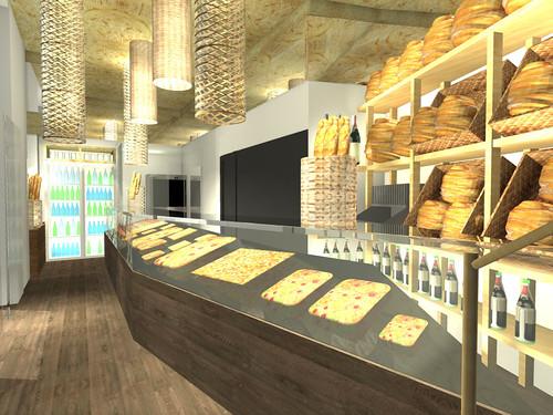 Render de la botiga que opta per una bona il·luminació i perquè tots els productes siguin perfectament visibles al públic.