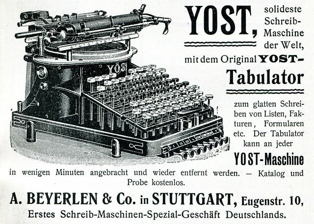 Werbeanzeige für die Schreibmaschine der Marke Yost, 1902