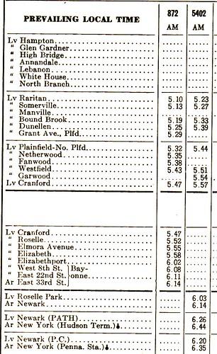 CRRNJ Main Line 1971 Schedule