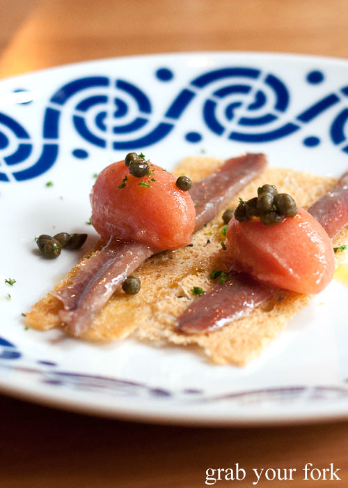 anchoa anchovy with smoked tomato sorbet at movida sydney