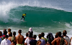 Supertubos breaks so close to the beach, the fans can hear you hoot in the barrel.