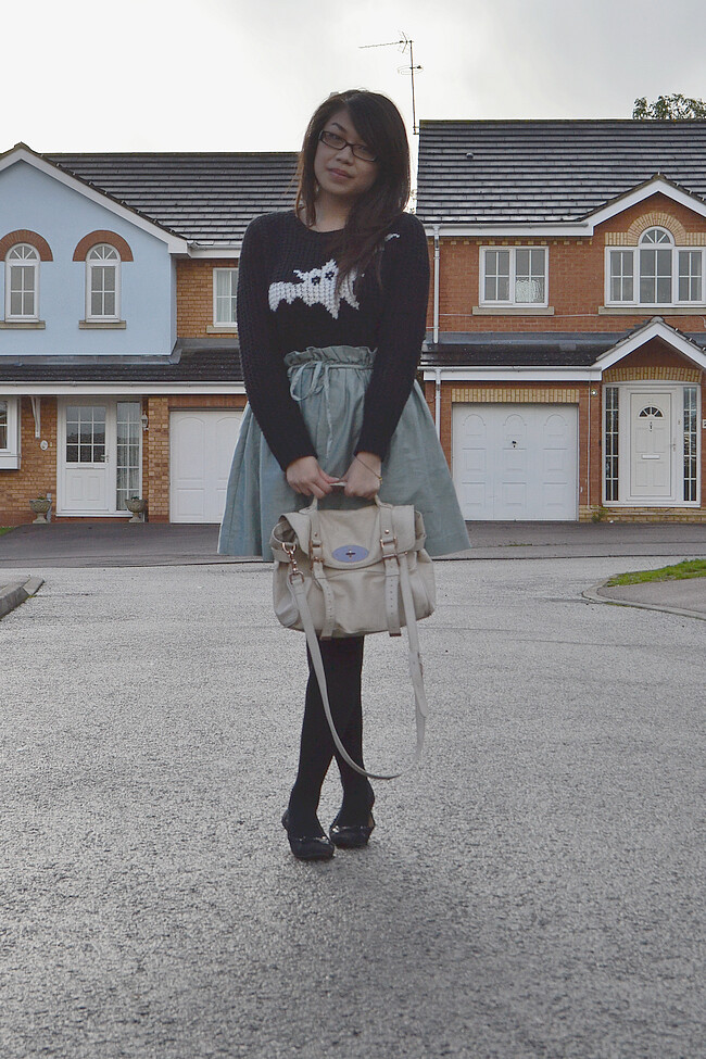 daisybutter - UK Style and Fashion Blog: what i wore, ootd, wiwt, AW12, j.w. anderson for topshop bat jumper, mulberry alexa