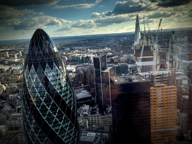 Gherkin and skyline from Heron Tower, City of London