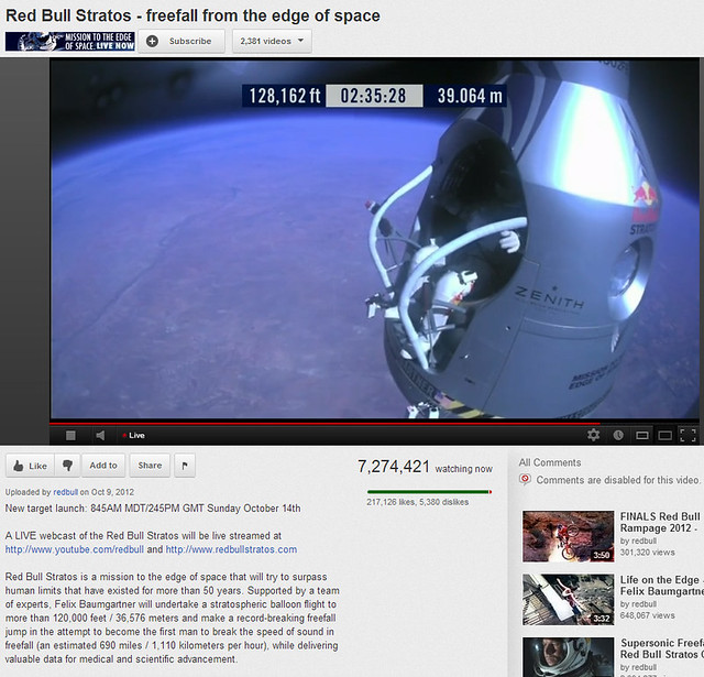 Felix Baumgartner stepping out of capsule