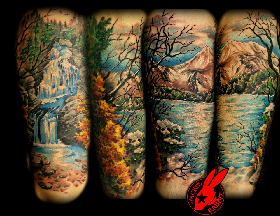 nature leg sleeve tattoo by jackie rabbit a photo on flickriver. Black Bedroom Furniture Sets. Home Design Ideas