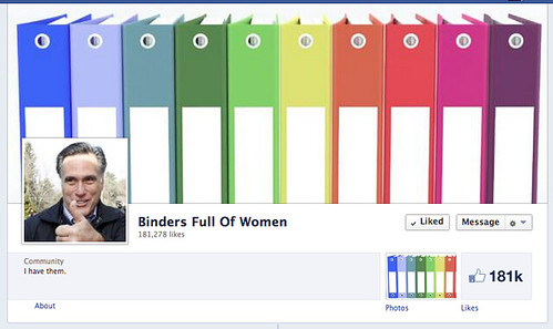 Mitt Romney facebook page with binder background