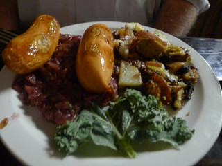 Knockwurst, Red Cabbage, and Roasted Potatoes