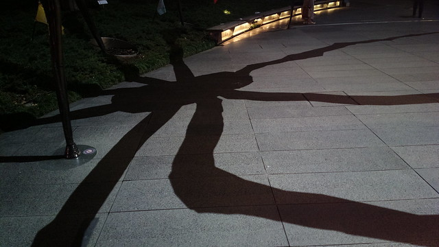 Shadow of Maman, a spider-like bronze statue by Louise Bourgeois
