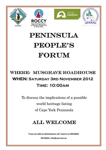 Peninsula People's Forum to discuss world heritage listing in Cape York Peninsula 11.2012