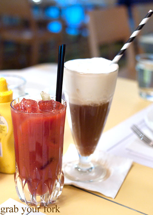 bloody mary and root beer float at bayswater diner, potts point kings cross
