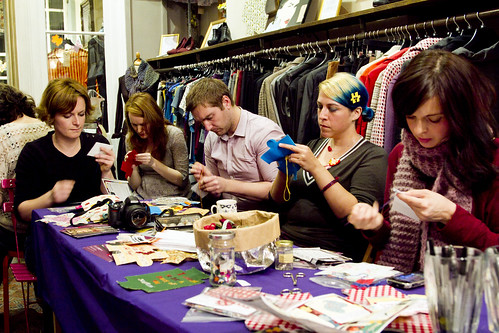 Craftivist launch night at Mary's Living and Giving shop in Primrose Hill