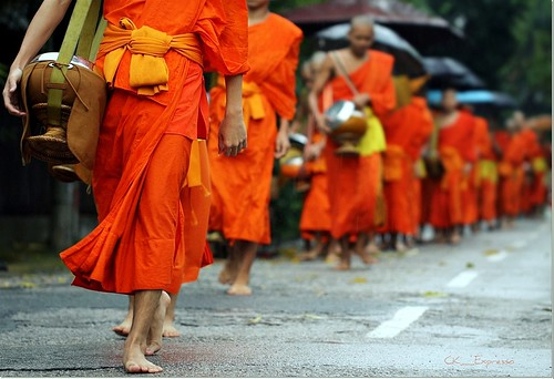 world morning orange color umbrella canon walking eos march focus flickr gallery dof view bokeh pov walk monk human rainy monks offering tradition everyday laos raining carefree luangprabang photostream robes ckexpresso rememberthatmomentlevel1 desiringnothing