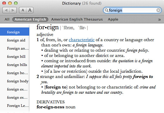 Definition of Foreign