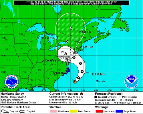 Sandy 5-Day Track Map as of 2012 Oct 28