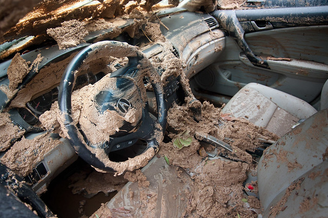 Car flooded with mud from Hurricane Sandy