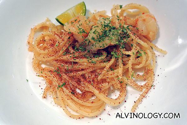 Harji Roasted Shrimp Roe Spaghettini with Udang Geragau