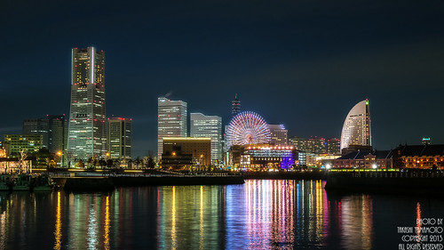 world city light sea sky color reflection tower clock japan night reflecting hotel iso200 view pacific landmark fujifilm pan yokohama f56 cosmo mm21 intercontinental porters 25sec xe1 243mm fujinonxf1855mmf284rlmois