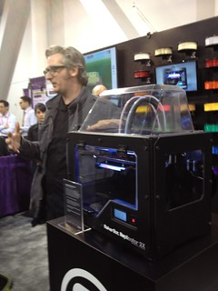 Bre Pettis with Makerbot Replicator 2X