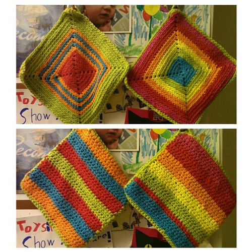 Two colorful potholders I've crocheted recently.