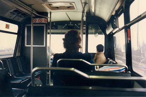 Interior view inside a Pace 40 foot Orion transit bus.  Mc Cook Illinois.  March 1989. by Eddie from Chicago