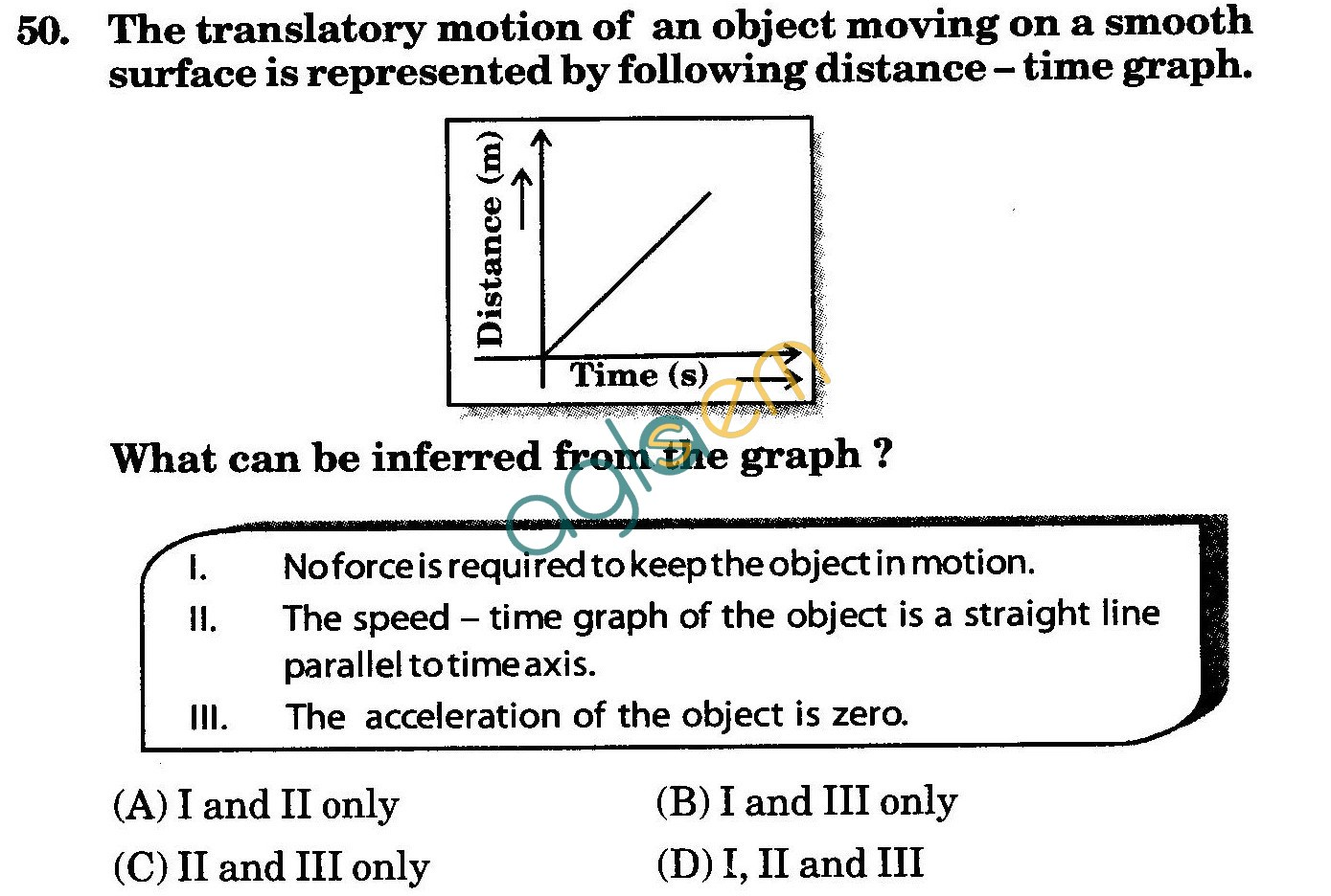NSTSE 2010: Class IX Question Paper with Answers - Physics