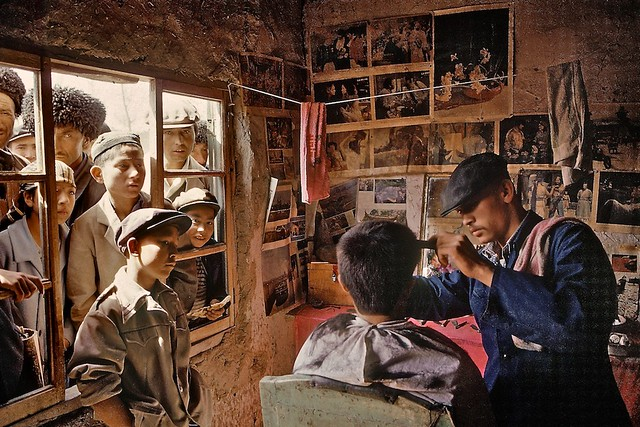 Barbershop in Khotan, Xinjiang, China