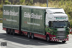 Scania R440 6x4 Curtainside with Drawbar Curtainside Trailer - PE61 AHC - Donna Marie - Green & Red - Eddie Stobart - M1 J10 Luton - Steven Gray - IMG_9002