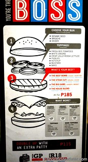 Burger Bar menu- make your own burger
