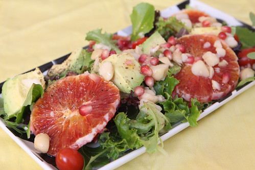 Blood Orange and Pomegranate Salad with Seville Orange Juice, Avocado, and Macadamia Nuts