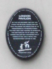 Photo of London Pavilion black plaque