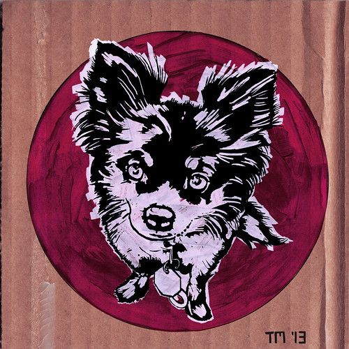 A Dog Named Apple – Sketch ink on cardboard by T.Mayer, San Diego