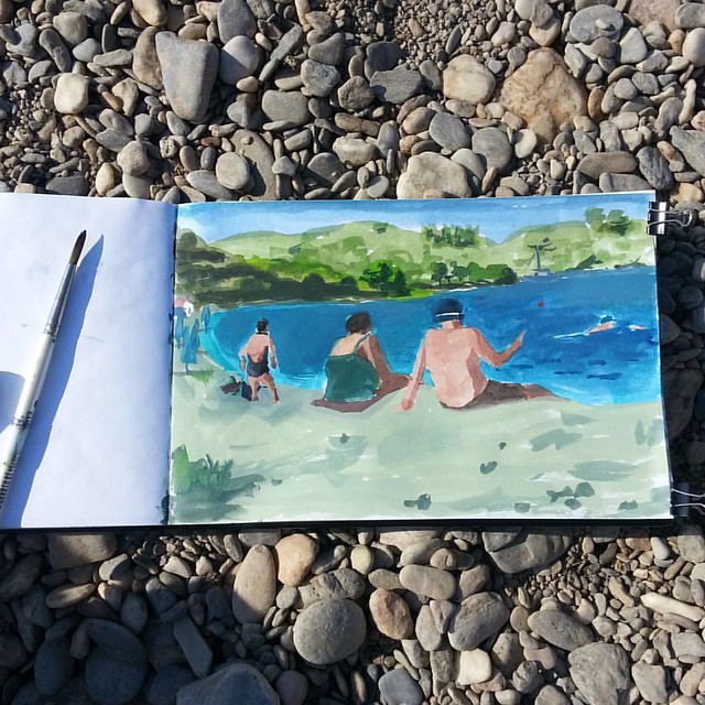 Departure day. Painting with sea water. Goodbye beach. #watercolor #painting #sketchbook #aGreeksummer #travel #traveltodraw #beach #swimming