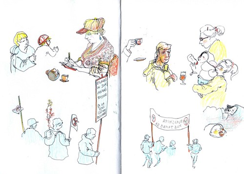 Lyon - Sketchcrawl - Sketchers, families and antinuclear protest
