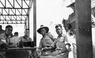 "July 1942 - Tom's mates (l to r) Sergeant Norman Fileuel Grainger, Corporal Bill Angwin, Lieutenant Reginald ""Reg"" Austin Shephard & Private George Albert Dobner at the Australian Soldier's Club, Tel Aviv, Palestine (now Israel)"