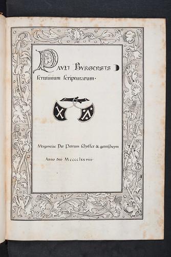 Illuminated initial in Paulus de Sancta Maria: Scrutinium scripturarum