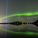 "Aurora borealis and the beam from ""The Imagine Peace Tower"" (in memorial to John Lennon) I"