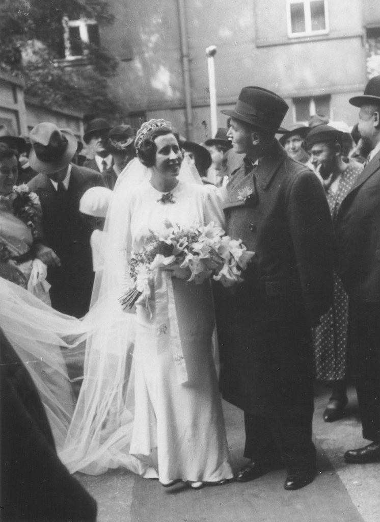 001---A Jewish bride and groom, Anna and Beno Vogel, on their wedding day