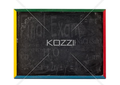 mathematical formulas written on slate board