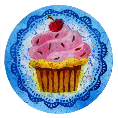 Cupcake I (Batik on Coffee filter)