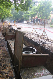 Storm water drain under construction in a residential locality in the city of Chennai (Photo: Seetha Gopalakrishnan)