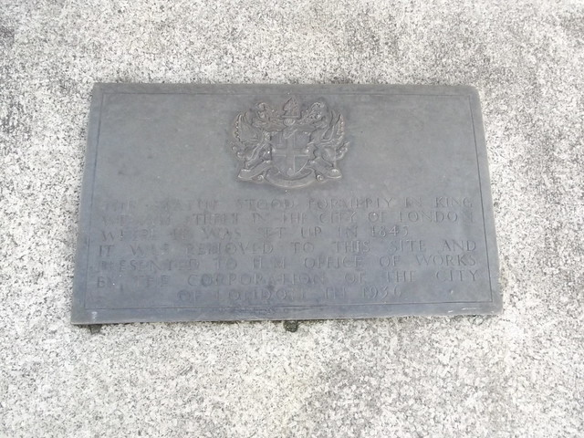 William IV bronze plaque - This statue stood formerly in King William Street in  the City of London where it was set up in 1845.  It was removed to this site and presented to H M Office of Works  by the Corporation of the City of London in 1936